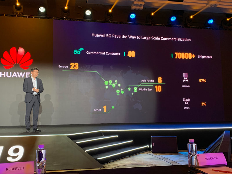 Huawei highlights its 5G 40 commercial contracts and 70,000 basestation shipments at HAS2019