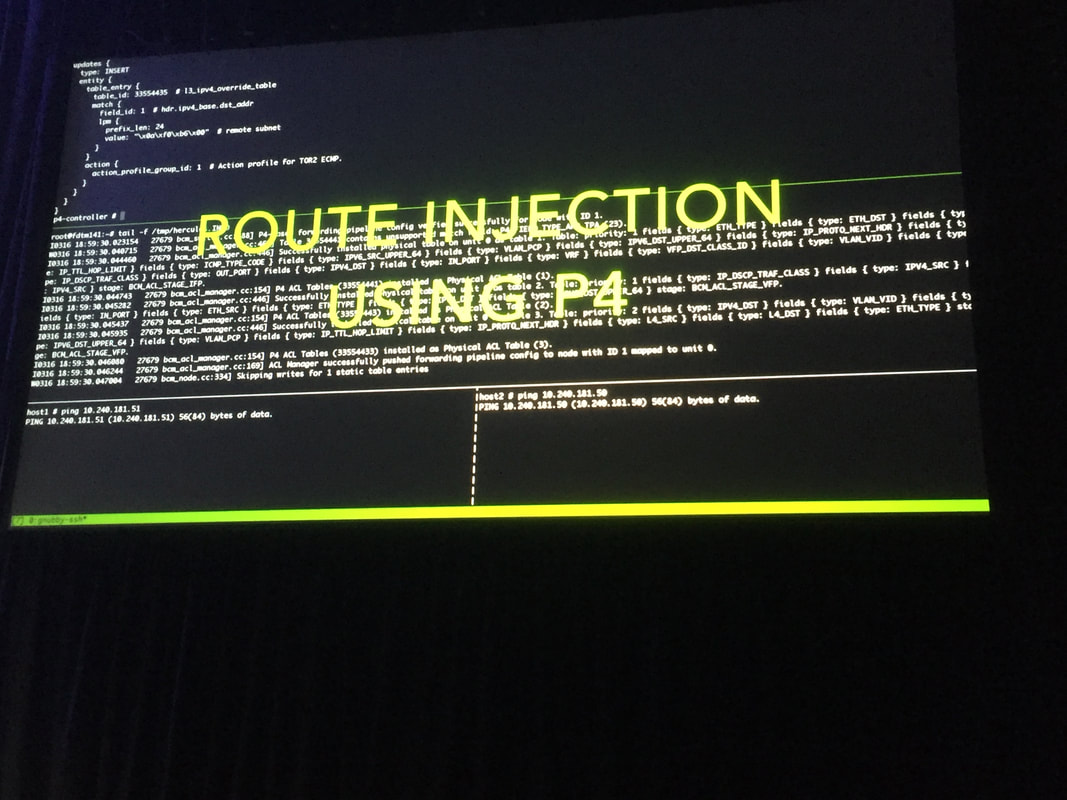 Google slide at ocpsummit18 showing route injection using P4
